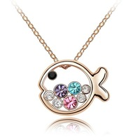 High Quality Riu Brand jewelry wholesale new 2013 crystal fish necklaces & pendants fashion necklace for girl 2013 jewellery