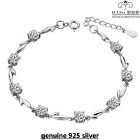 Wholesale 100% Genuine 925 Sterling Silver Platinum Plated Love Heart Amethyst Bracelet Fashion Jewelry SSB005