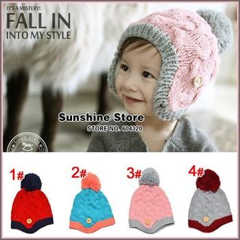 Sunshine store #2C2677  5pcs/lot(4 colors) baby hat winter  balls beanie toddler ear warmer cap children botton knitted hat CPAM