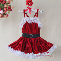 2014 New Style Christmas TUTU Dress Dark Red Part Dress For Girl Princess Kids Dress With Belt Children Fashion Wholesale
