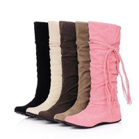 Big Size 34-43 Fashion Women's Knee Boots Hidden Wedges Shoes Autumn Winter Boot Womens Plus Size Snow Boots Free Shipping
