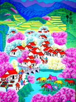 The rural scenery of spring. Chinese painting and calligraphy, business gifts. Chinese farmer painting.