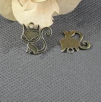 Alloy pendant, charms, animal - cat 20x20mm ,  antique brass plating, item ALP1126