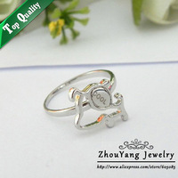 ZYR201 Cool Dog Ring 18K Platinum Plated Made with Genuine Austrian Crystals Full Sizes Wholesale