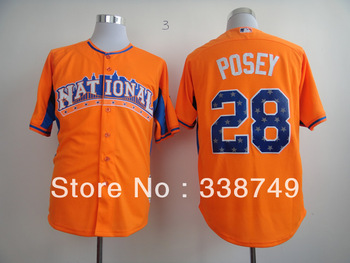 Free Shipping Wholesale 2013 All Star National League San Francisco Giants 28 Buster Posey Orange Baseball Jersey,Mix Order