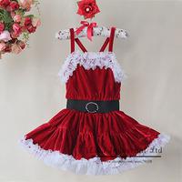2014 New Arrival Christmas Red Tutu Dress And Corduroy And White Hem Dress Girls Wedding Dress TD30811-9