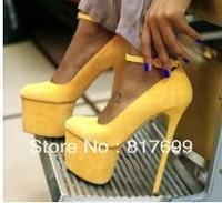 2013  New arrival women  platform party high heel shoes yellow orange high heel dress shoes women