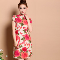 Chinese style pearl button fluid short-sleeve vintage slim short qipao red peony