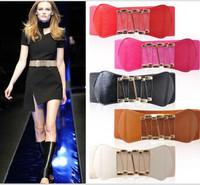 2pcs/Lot New Popular Women Fashion Width Cummerbund Classic Buckle Elastic Belt  Free Shipping Colors Option