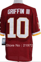 Free shipping New Brand Men's American Football Jerseys Washington 10 Robert Griffin III RED WHITE Elite Jersey Size:40-56