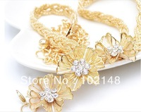 Women's Fashion Flower Rhinestone  Belly Chain,  Dress Decoration Belt ,2 colors(SILVER+GOLD) FREE SHIPPING YL015