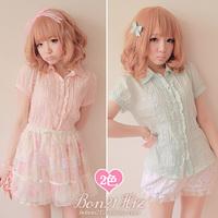 Princess Sweet lolita blouse BOBON 21 cotton pink lace breathable baimuer laciness shirt summer cool short sleeve blouse t0826