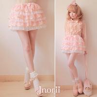Sweet lolita princess royal pink gentlewoman  bow multi-layer strawberry cake short skirt culottes b0778