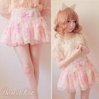 Sweet lolita skirt princess summer cool royal pink lace gentlewoman yarn flower bow rose chiffon sheds bust mini skirt b0805