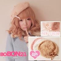 Bobon21 Sweet lolita princess royal gentlewoman  high quality plush rabbit fur pearl bow painter cap beret ac0737
