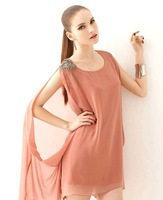 HOT FASHION!!! High quality Chiffon sleeveless dresses ,Single shoulder strap with irregular chiffon dress
