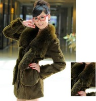 2013 New Arrival Women's Free Shipping Winter Warm Real Rabbit Hair with Fox Collar Fur Coat Deep Green Sent from Russia