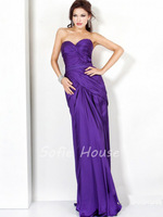 2013 New fashion sweetheart with belt pleated purple satin long mermiad prom gown party evening dress