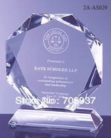 Noble Best selling Grade A Crystal  Octagon Corporate Award Trophy gifts design,logo and size OEM