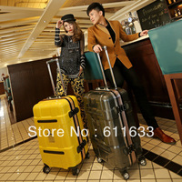 20 24 commercial luggage bag aluminum frame travel bag male women's universal wheels luggage pull box trolley/free shipping