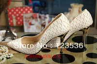 2013 autumn women's brand pointy snakeskin heels