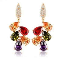 Free shipping!(Min order is 20usd) Hot sale high quality elegant colorful AAA zircon fashion jewelry earrings