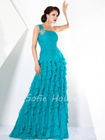 2013 New fashion one shoulder with crystal ruffled turquoise chiffon long a line prom gown party evening dress