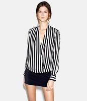 2013 New Fashion Women's Western Style V-neck Long Sleeves Straight Stripe Loose Blouse Black&White CS13022012 S M L