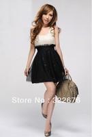 2013 New Free Shipping Stylish Sequin Splcing Sleeveless Lace Dress Apricot&Black E10081116