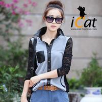 Plus Size Women Clothing Patchwork PU Trim Long Sleeve Lace Tops Shirt Blouse Blusa l, xl,xxl,xxxl,xxxxl