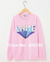 Korean Brand Designer Candy Color Letter Print Long Sleeve Pullover Sweatshirts Women Autumn 2013 Branded Sport Wear T-shirts