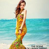 Big beach 2013 5a118806 beauty leopard print vine bandage long dress