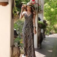 Summer new arrival 2013 beach wear fashion deep V-neck spaghetti strap mohini over-the-knee long skirt