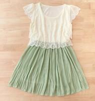 Small empty thread 2013 fresh color block pleated decoration chiffon one-piece dress