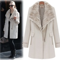 free shipping new 2013 fashion winter women british style wool coat female fur collar jacket thick trench long outerwear XXL