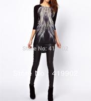 Fashion Womens Lady Peacock Tail Printed Asymmetric Hem Back Zip T-shirt Top Blouse Long Shirt