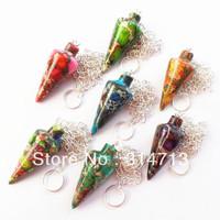 7pcs mixed color Sea Sediment Jasper & Pyrite pendulum Pendant Bead R0046132