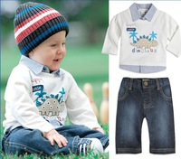 ee shipping 5sets/lot boy fashion denim jean 2pcs clothing set baby autumn costumes children animal dinosaur outerwear