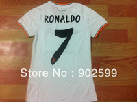 New arrival 13/14 real madrid home Ladie womens girls white best quality soccer football jersey, 7# ronaldo soccer jerseys