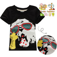 Retail!!!NEW 2013 summer,children Black short sleeve T-shirt,boys and girls 100% cotton T03# t shirt 5Size