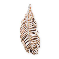 free shipping hot selling hot charm 2013 tms silver factory price ts 2241R 6.5cm Rose  gold Feather pendant