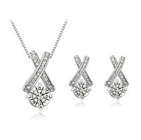 Wholesale White Gold Plated Crystal Cross Necklace/Earrings Make With AU Crystal Set Fashion Jewelry MG559-8