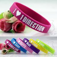 Wholesale - 60PCS 6 color I heart One Direction Silicone Wristband Bracelet Wrist Band Bracelets love 1D Free Shipping