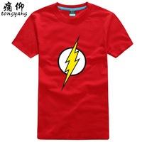 2013 American drama the big bang theory Fashion Black Print Flash T-Shirts Free Shipping %100 Cotton Shorts Sleeves Black Shirt