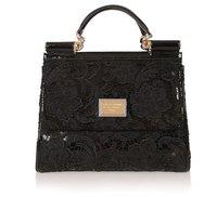 7828 'Miss Sicily' Leather & Lace Satchel Bag,shoulder bags,genuine leather handbags,fashion bags