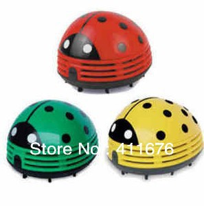 1 Free Shipping! Mini Ladybug Vacuum Cleaner Desktop Coffee Table Vacuum Cleaner Dust Collector For Home Office Car, 6pcs/lot
