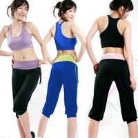 Spring and summer yoga clothes set yoga clothing vest short capris callisthenics belt pad
