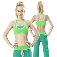 Green sexy fitness yoga clothes suit set summer yoga clothing