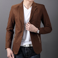 Free shipping Cow 2013 autumn male 100% cotton button personalized pocket blazer fantastic style