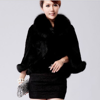 2013 faux fur wool cloak outerwear women winter warm shawel black and white S --XXXL